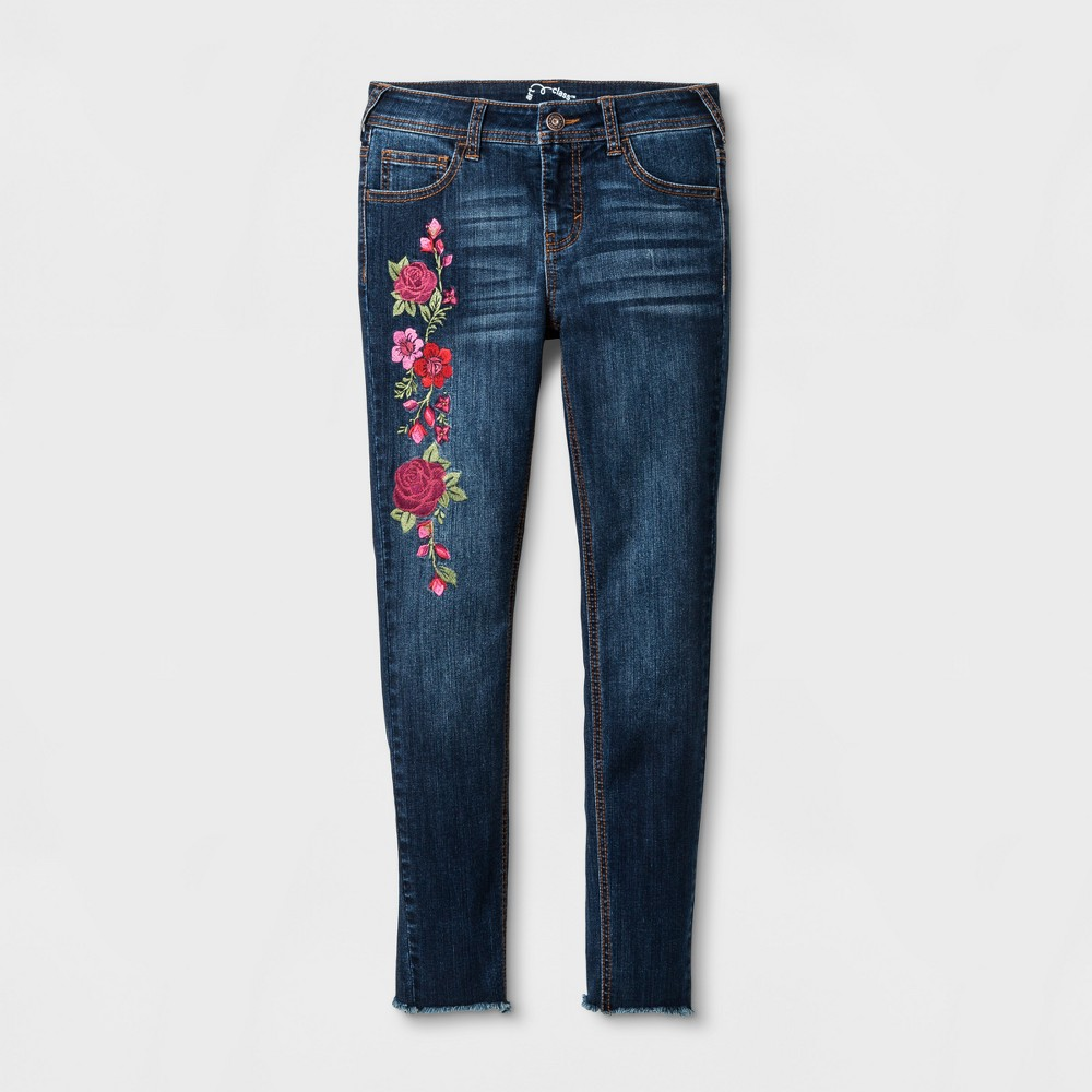 Girls Floral Embroidered Skinny Jeans - Art Class Dark Denim Wash 14 Slim, Blue
