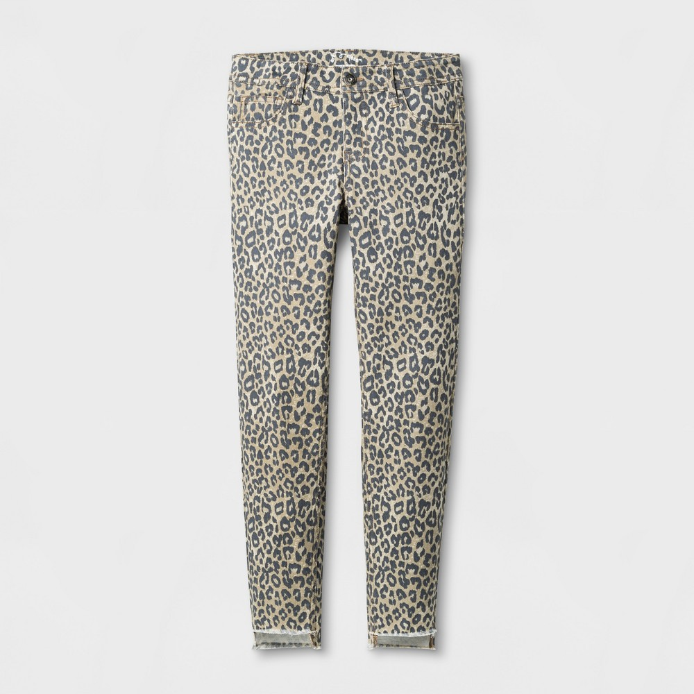 Girls Animal Print Denim Skinny Jeans - Art Class Khaki 16, Beige