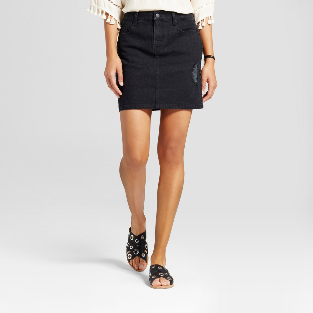 Womens Denim Skirt with Destruction Detail - Mossimo Supply Co. Black 14