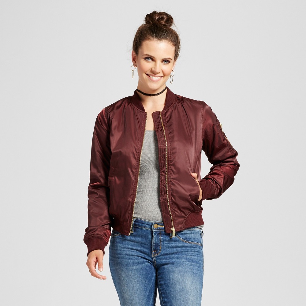Womens Bomber Jacket with Colored Lining - Xhilaration Burgundy (Red) S