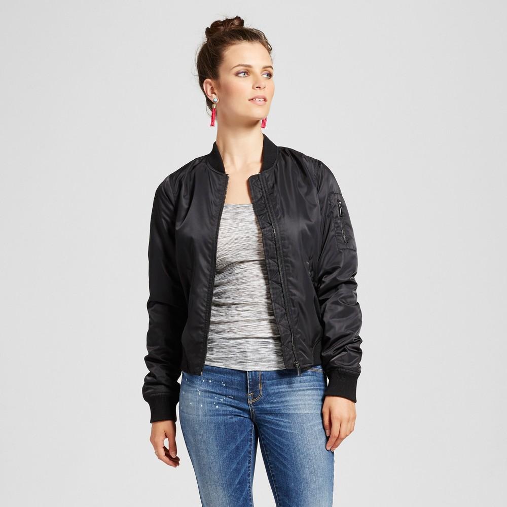 Womens Bomber Jacket with Printed Lining - Xhilaration Black S