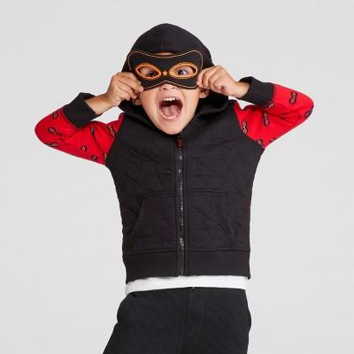 Toddler Boys' Zip Up Hero Hoodie Sweatshirt - Cat & Jack™ Black 12M