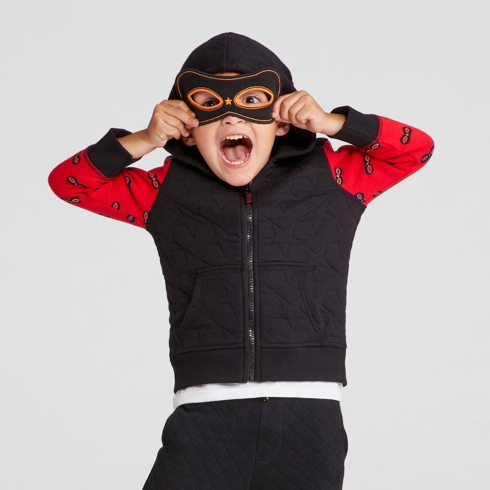 Toddler Boys Zip Up Hero Hoodie Sweatshirt - Cat & Jack Black 12M, Size: 12 M
