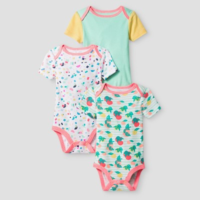 Oh Joy! Baby Girls' 3-Pack Bodysuit Set - Peach 6-9M