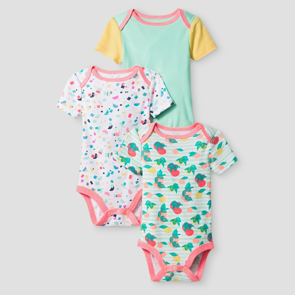 Oh Joy! Baby Girls 3-Pack Bodysuit Set - Peach 6-9M, Size: 6-9 M, Orange