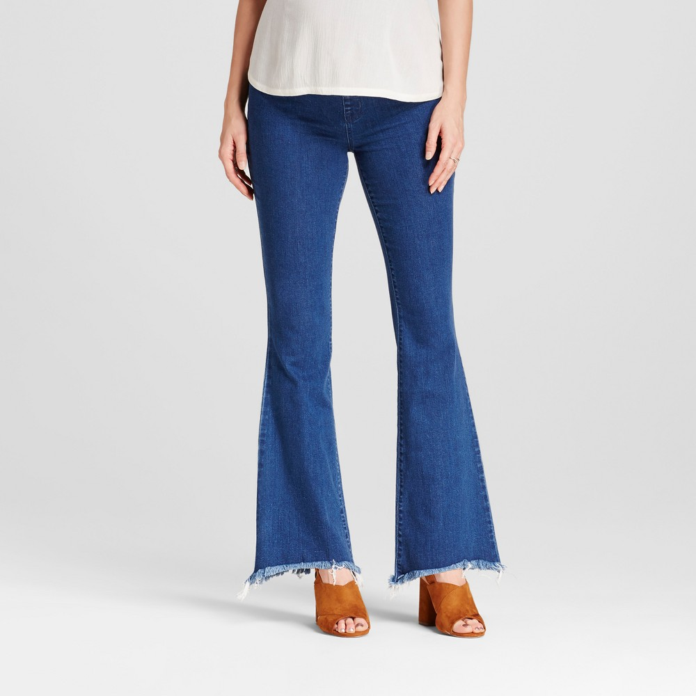 Maternity Crossover Panel Flare Jeans - Isabel Maternity by Ingrid & Isabel Medium Wash 14, Womens, Blue