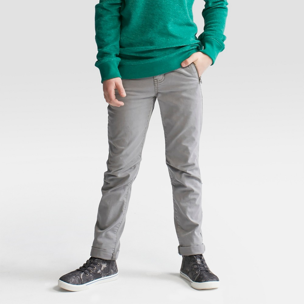 Boys Moto Skinny Stretch Chino Pants - Cat & Jack Proper Gray 12