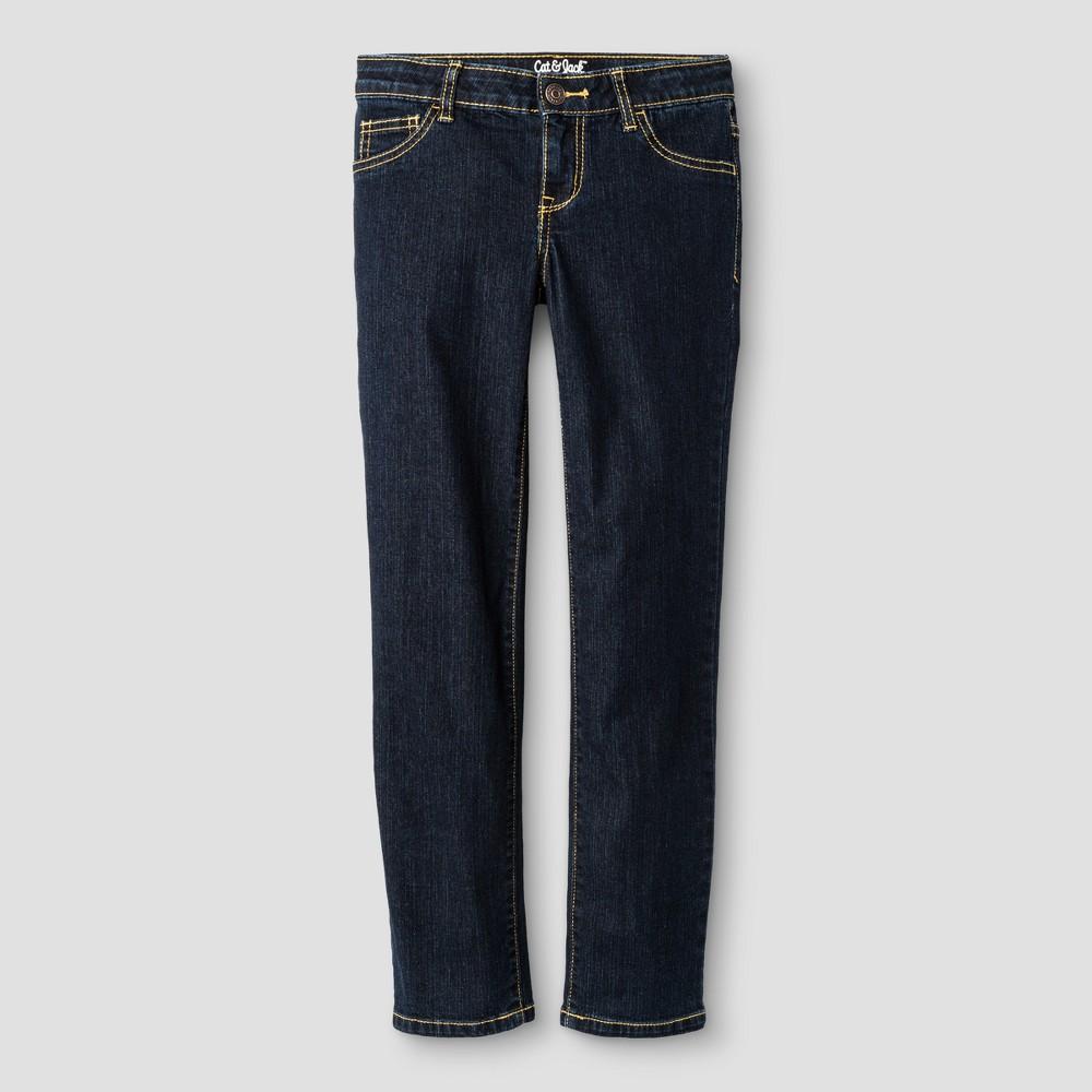 Girls Straight Fit Jeans - Cat & Jack Dark Blue 16