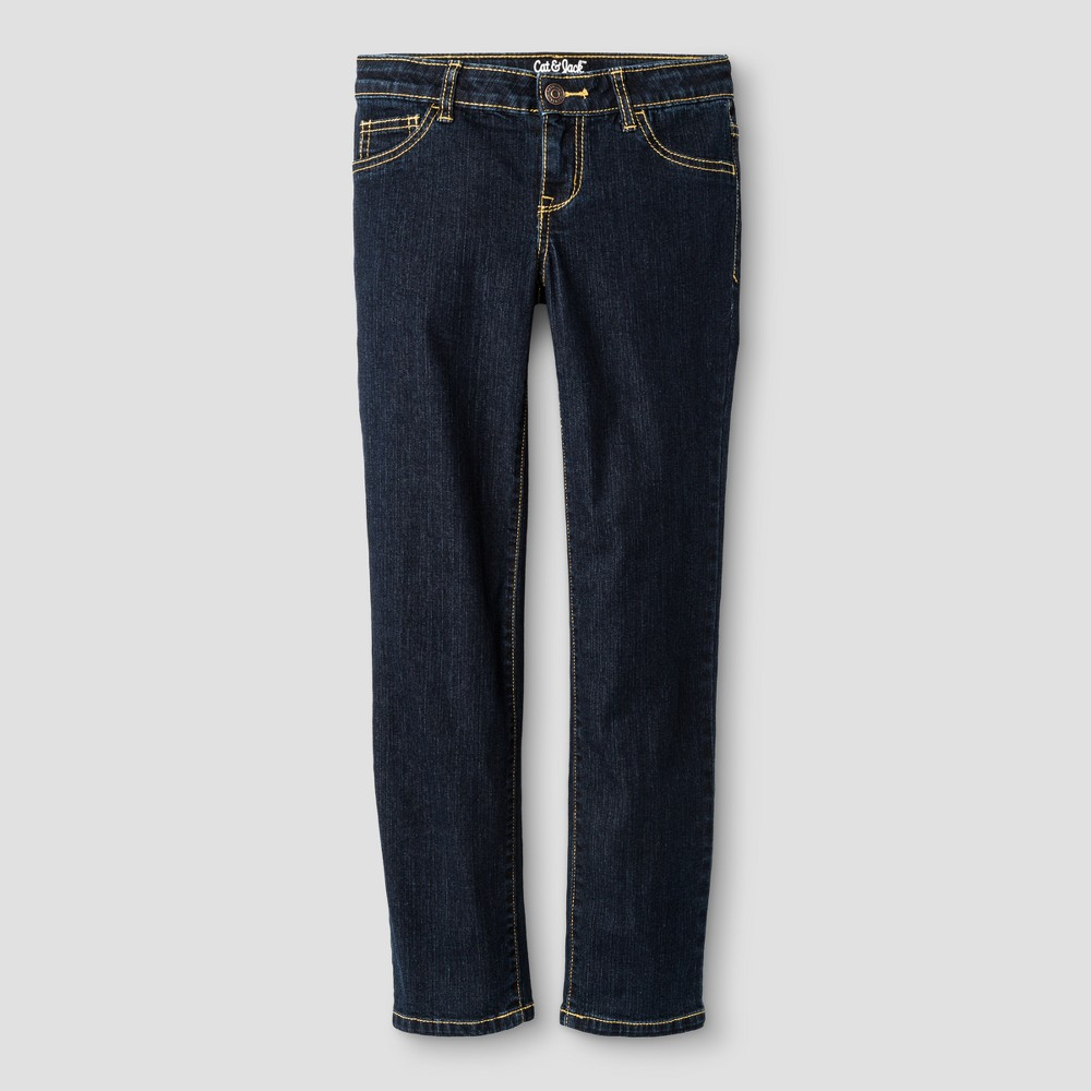 Girls Straight Fit Jeans - Cat & Jack Dark Blue 5