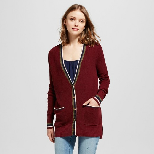 Women's Boyfriend Cardigan - Mossimo Supply Co.™ Burgundy S : Target