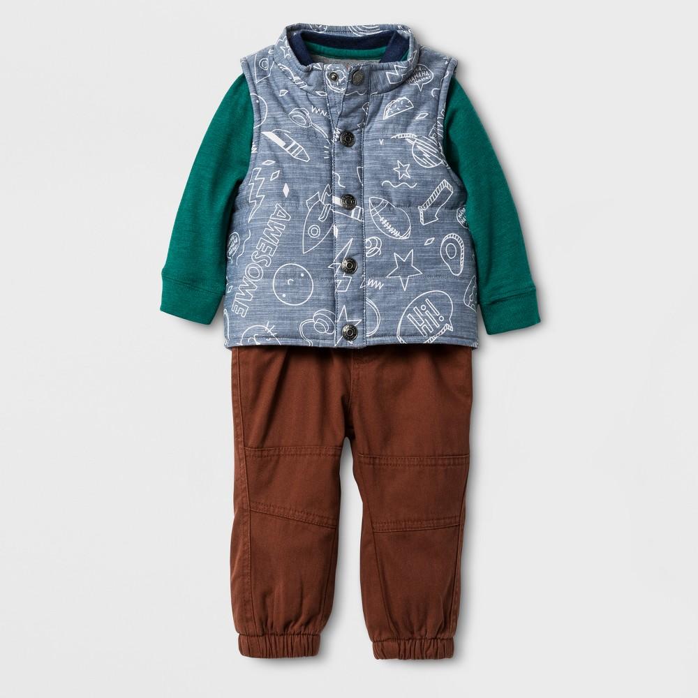 Baby Boys 3PC Raglan Bodysuit, Printed Vest and Twill Pants Set - Cat & Jack Blue/Gray/Toffee NB