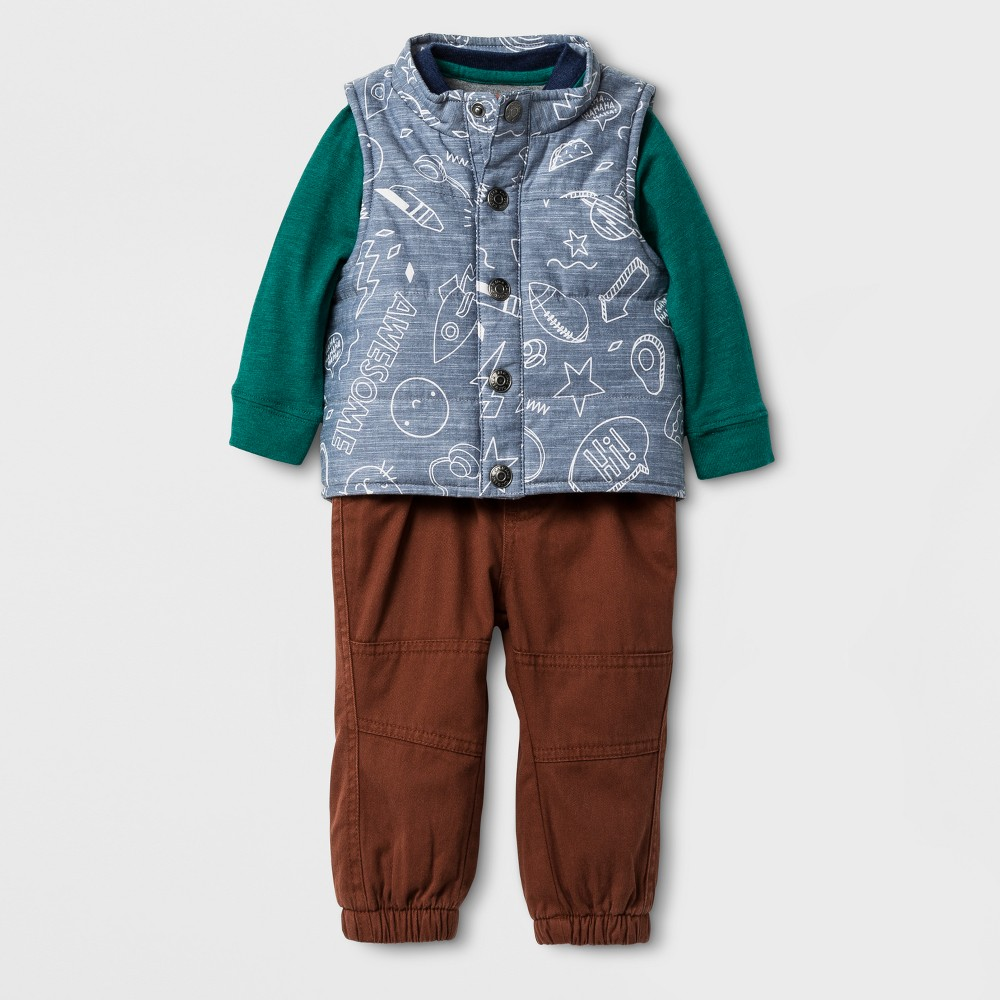 Baby Boys 3PC Raglan Bodysuit, Printed Vest and Twill Pants Set - Cat & Jack Blue/Gray/Toffee 3-6 Months, Size: 3-6 M