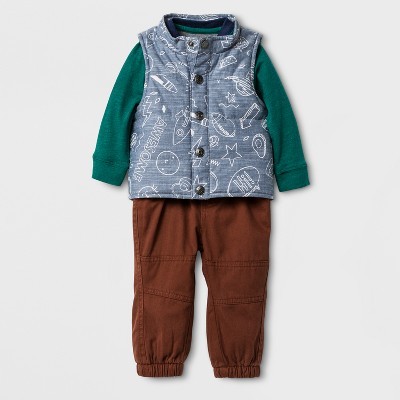 Baby Boys' 3PC Raglan Bodysuit, Printed Vest and Twill Pants Set - Cat & Jack™ Blue/Gray/Toffee 12 Months
