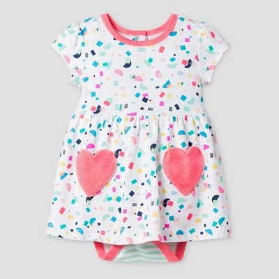 Oh Joy! Baby Girl Confetti Dress with Hearts - Coral 3-6M