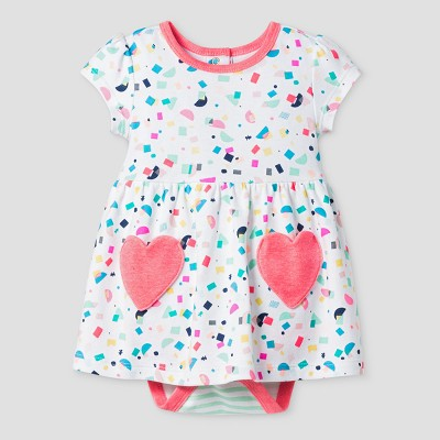 Oh Joy! Baby Girl Confetti Dress with Hearts - Coral 6-9M
