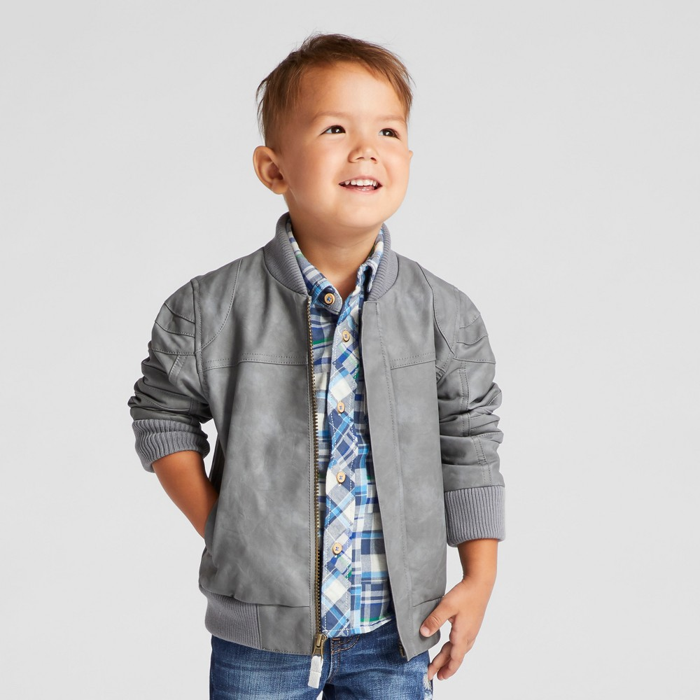 Toddler Boys Bomber Jacket Genuine Kids from Oshkosh - Gray 18M, Size: 18 Months