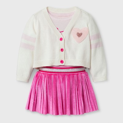 Baby Girls' Varsity Cardigan, Bodysuit and Velvet Skirt - Cat & Jack™ Cream/Pink 3-6 Months