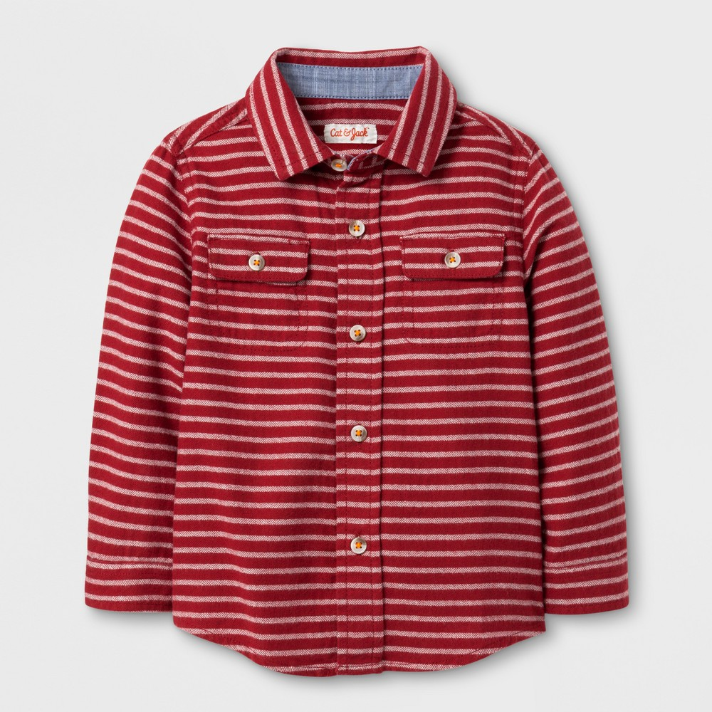 Toddler Boys Button Down Stripe Shirt - Cat & Jack Red 2T