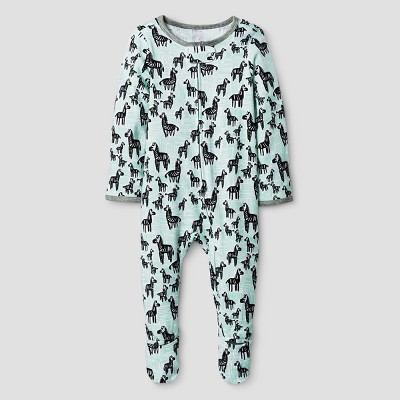 Oh Joy! Baby Zebra Print Sleep N Play - Green 0-3M