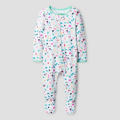 Oh Joy! Baby Girls' Confetti Print Sleep N Play - Green 3-6M