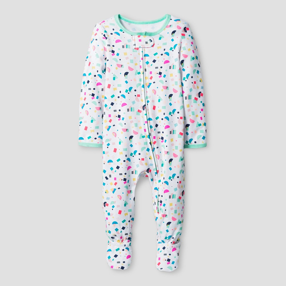 Oh Joy! Baby Girls Confetti Print Sleep N Play - Green 6-9M, Size: 6-9 M