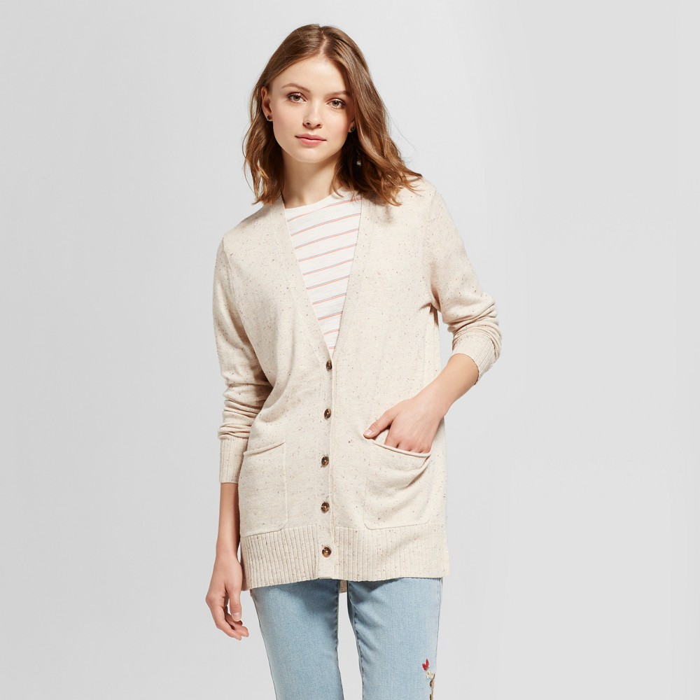 Womens Boyfriend Cardigan - Mossimo Supply Co. Oatmeal Nep L, Brown