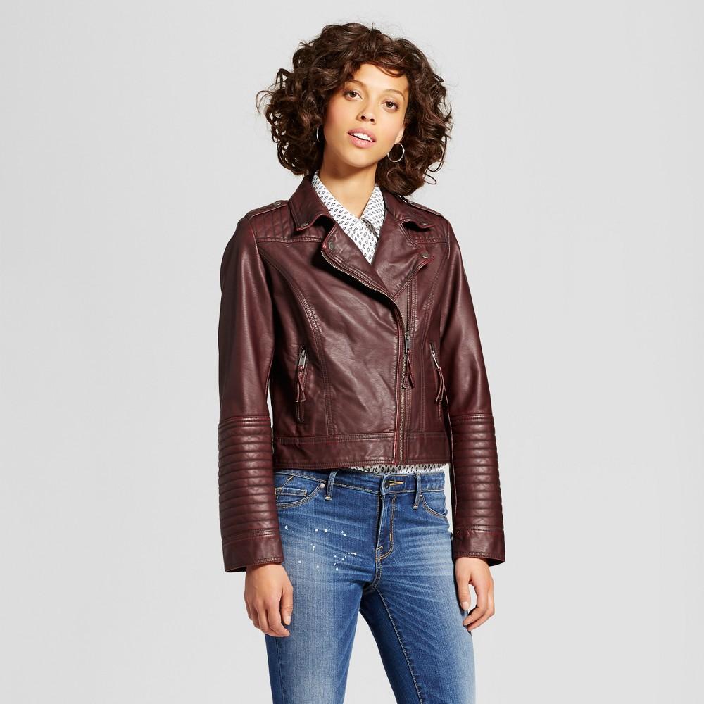 Womens Faux Leather Moto Jacket - Xhilaration (Juniors) Burgundy (Red) Xxl