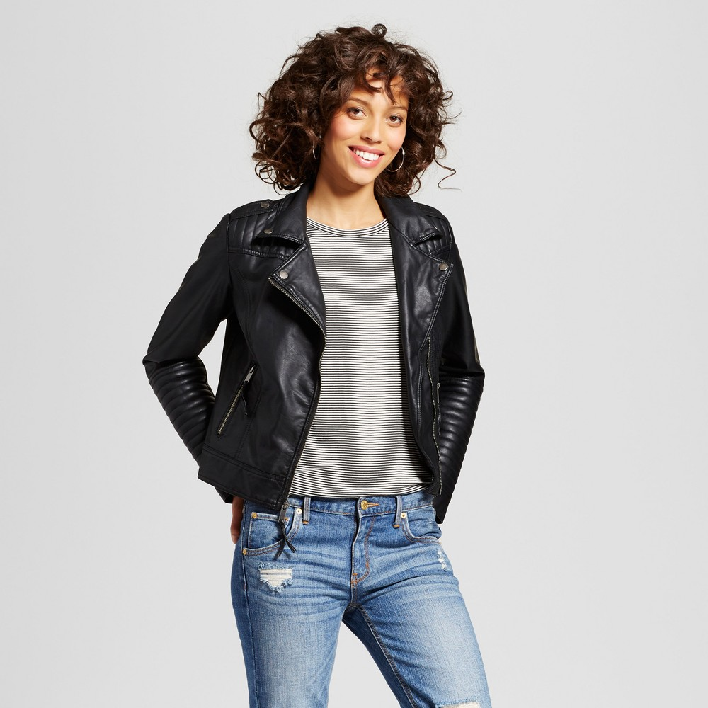 Womens Faux Leather Moto Jacket - Xhilaration (Juniors) Black Xxl