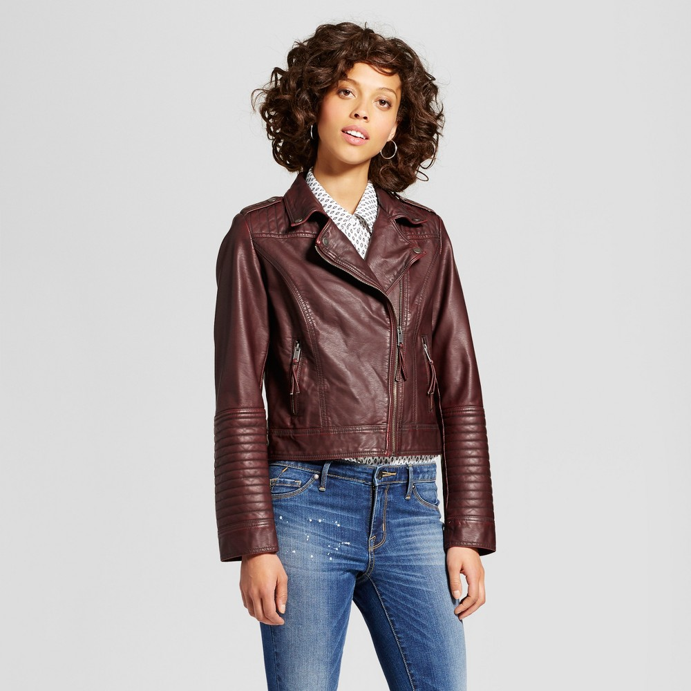 Womens Faux Leather Moto Jacket - Xhilaration (Juniors) Burgundy (Red) S