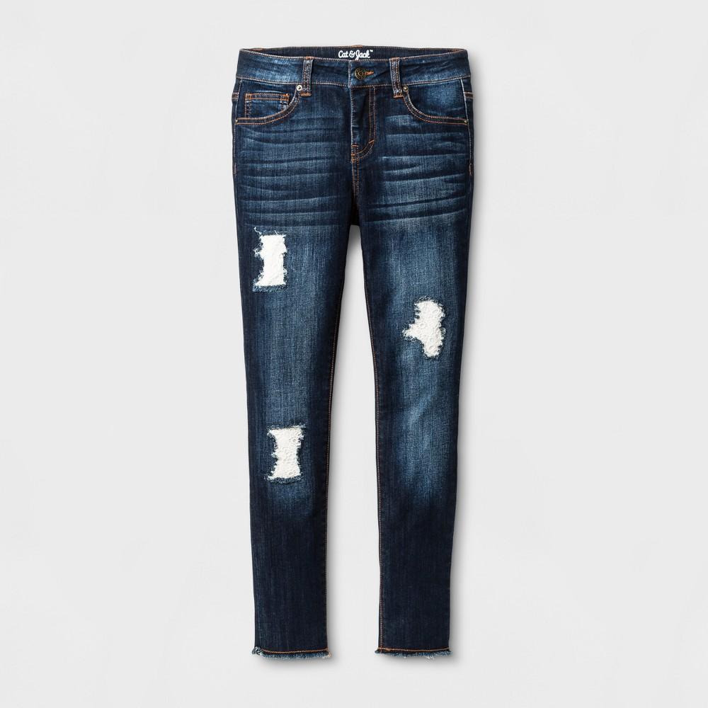 Girls Jeans Jeggings with Crochet Detail - Cat & Jack Dark Denim Wash 16, Blue