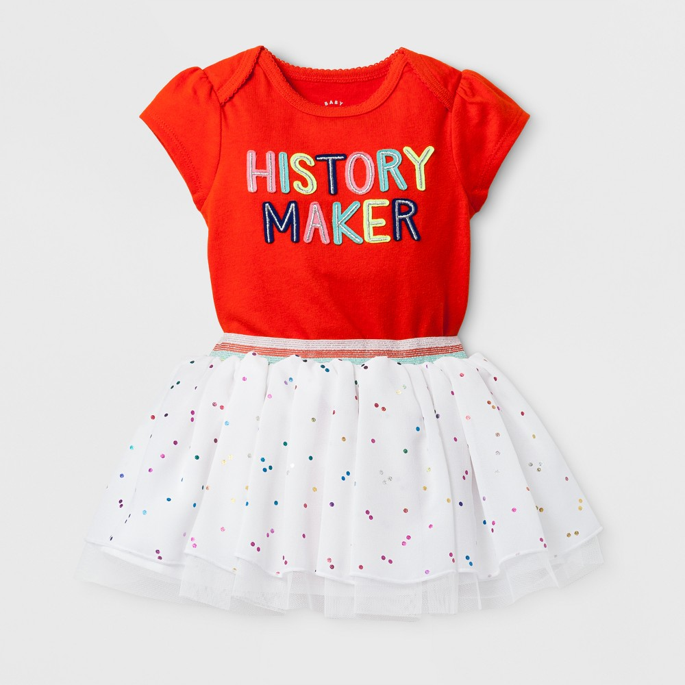 Baby Girls 2pc History Maker Bodysuit and Tutu Set - Cat & Jack Orange 3-6 Months, Size: 3-6 M