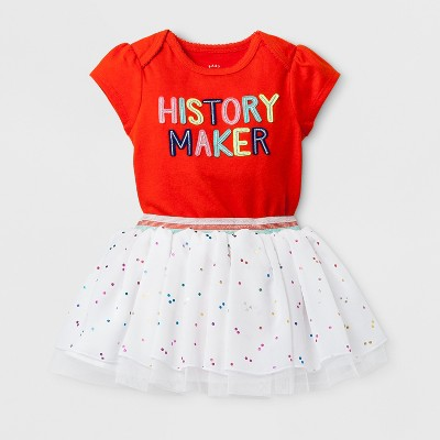 Baby Girls' 2pc History Maker Bodysuit and Tutu Set - Cat & Jack™ Orange 6-9 Months