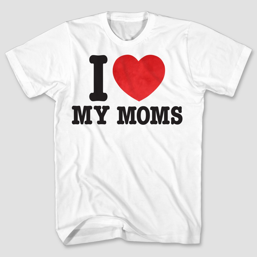 Pride Kids I Love My Moms T-Shirt Heather Gray XL, Boys, White