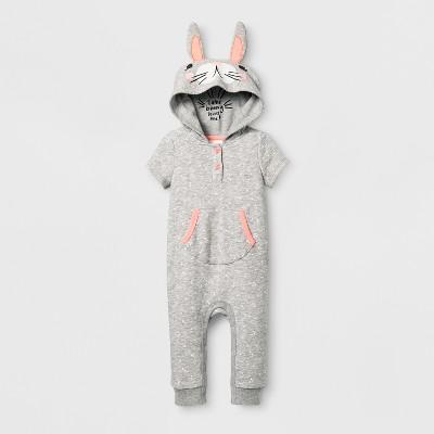 Baby Girls' Bunny Romper - Cat & Jack™ Gray 6-9 Months