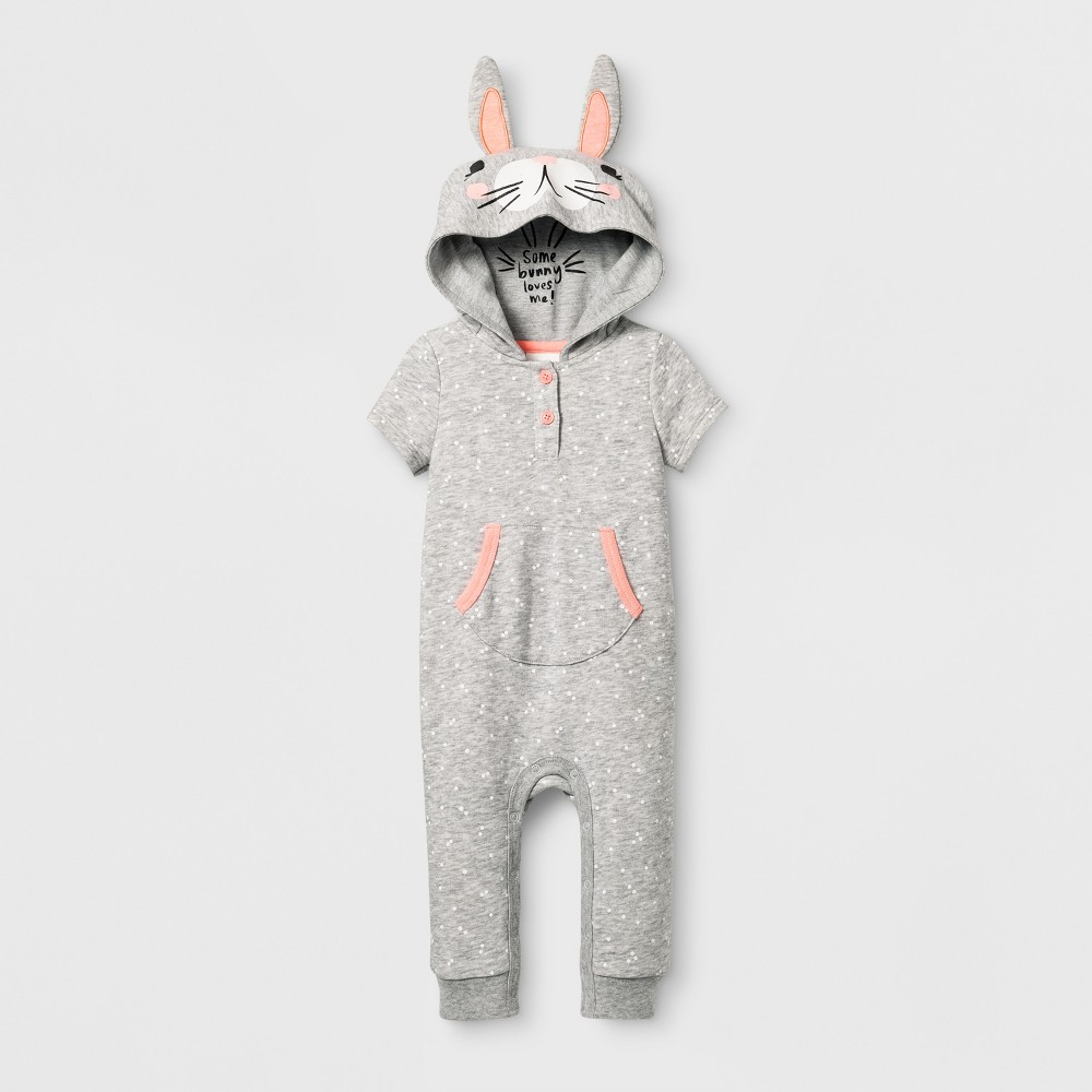 Baby Girls Bunny Romper - Cat & Jack Gray 6-9 Months, Size: 6-9 M