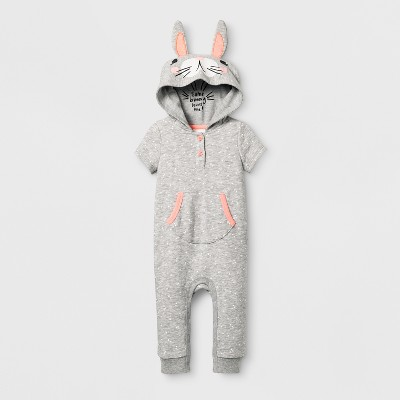 Baby Girls' Bunny Romper - Cat & Jack™ Gray 12 Months