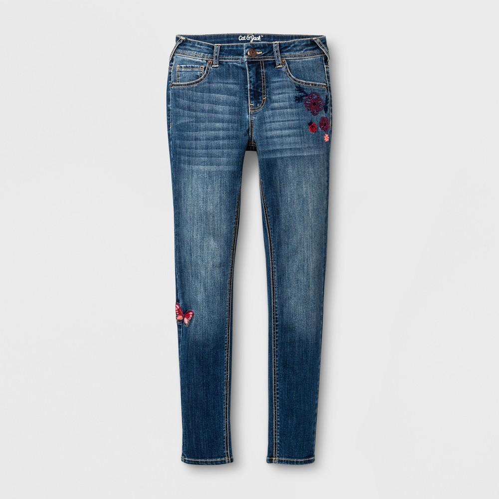 Girls Embroidered Super Skinny Stretch Jeans - Cat & Jack Medium Denim Wash 14 Slim, Blue
