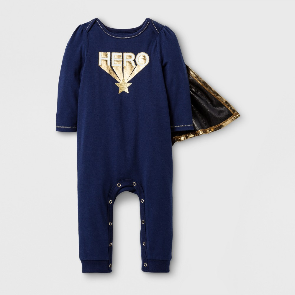 Baby Girls Hero with Cape Romper - Cat & Jack Navy NB, Blue