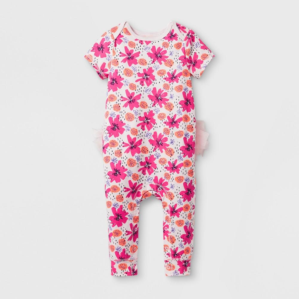 Baby Girls Tutu Romper - Cat & Jack Floral Print 3-6 Months, Size: 3-6 M, Pink
