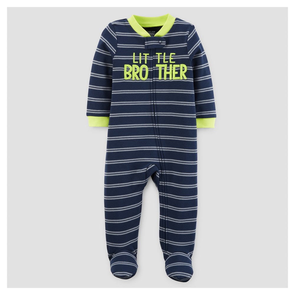 Baby Boys Cotton Stripe Little Brother Sleep N Play - Just One You Made by Carters Blue 9M, Size: 9 M
