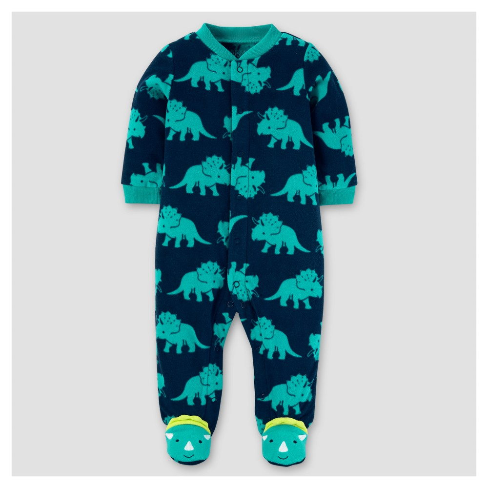 Baby Boys Poly Fleece Dinosaur Sleep N Play - Just One You Made by Carters Teal 6M, Size: 6 M, Blue