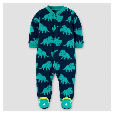 Baby Boys' Poly Fleece Dinosaur Sleep N' Play - Just One You™ Made by Carter's® Teal NB