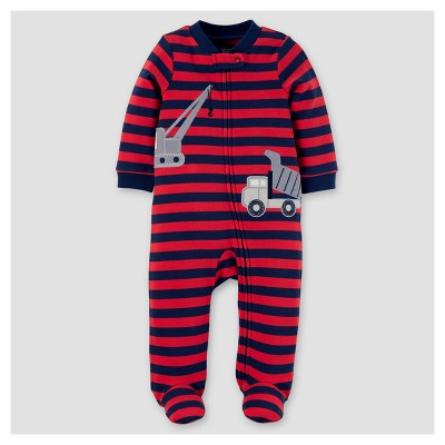 Baby Boys' Cotton Stripe Construction Sleep N' Play - Just One You™ Made by Carter's® Dark Red 9M