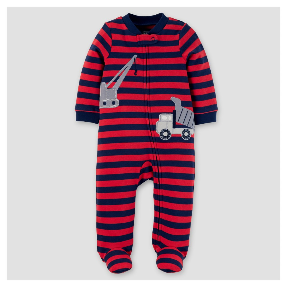 Baby Boys Cotton Stripe Construction Sleep N Play - Just One You Made by Carters Dark Red 9M, Size: 9 M
