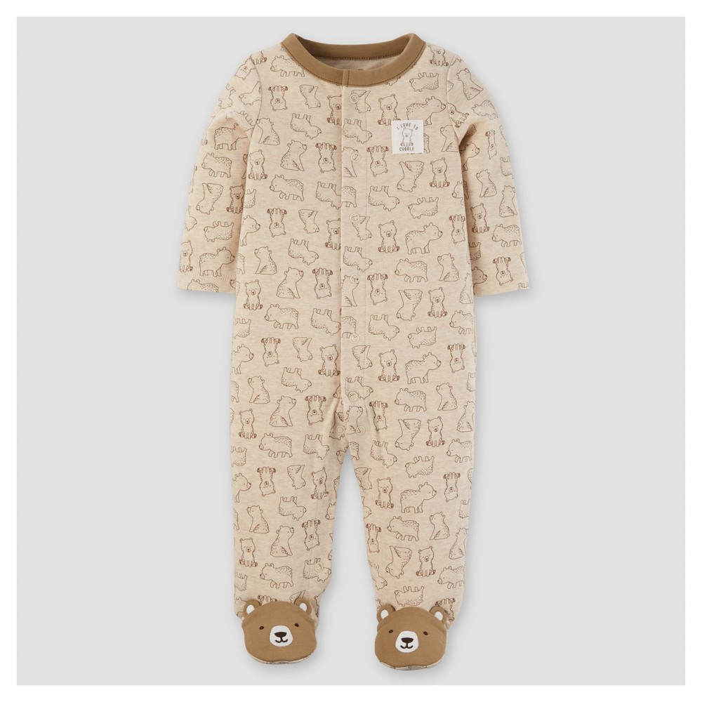 Baby Boys Cotton/Poly Bears Sleep N Play - Just One You Made by Carters Khaki NB, Brown
