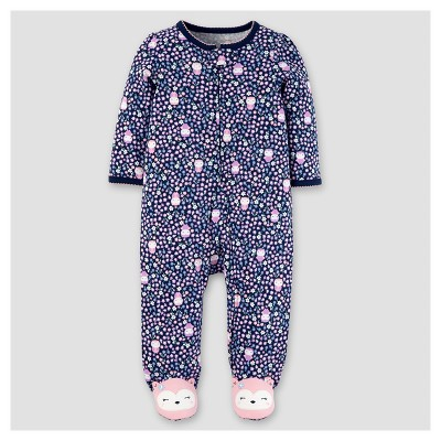 Baby Girls' Cotton Floral Owls Sleep N' Play - Just One You™ Made by Carter's® Navy 3M