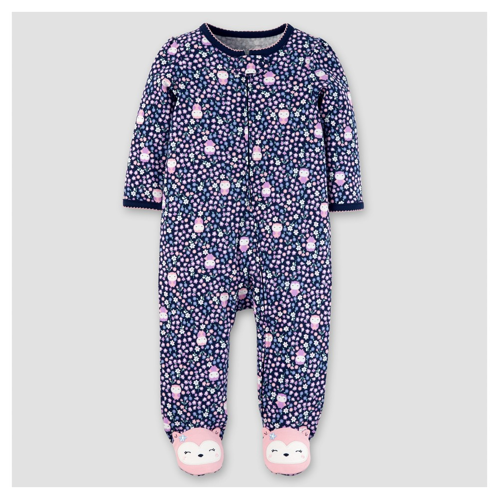 Baby Girls Cotton Floral Owls Sleep N Play - Just One You Made by Carters Navy 9M, Size: 9 M, Blue