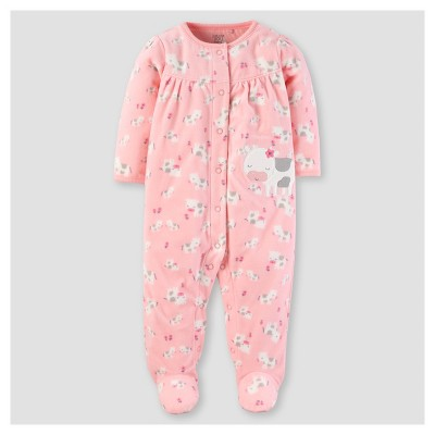 Baby Girls' Poly Fleece Cows Sleep N' Play - Just One You™ Made by Carter's® Pink NB