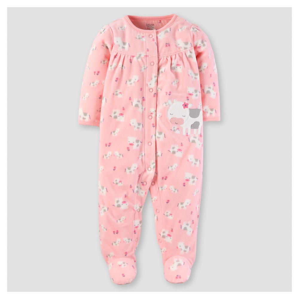 Baby Girls Poly Fleece Cows Sleep N Play - Just One You Made by Carters Pink NB
