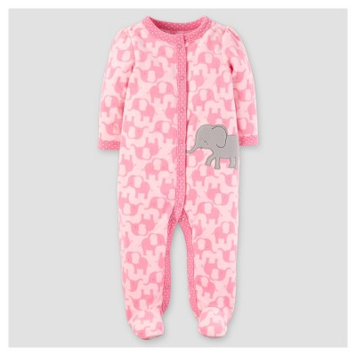 Baby Girls' Poly Fleece Elephants Sleep N' Play - Just One You™ Made by Carter's® Pink NB